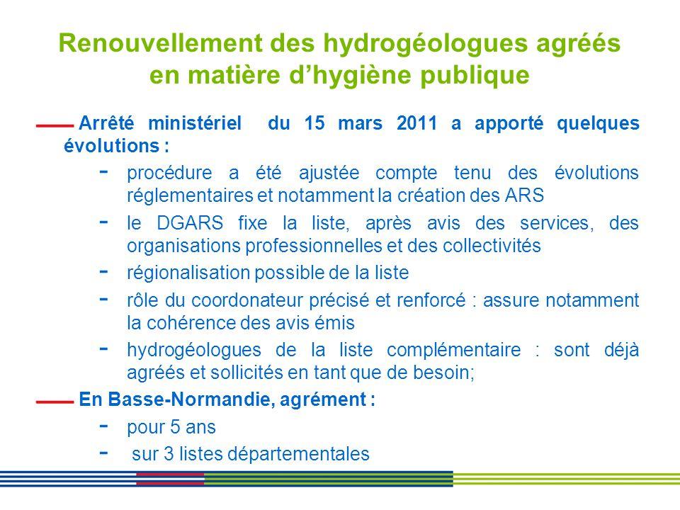 Renouvellement des hydrogéologues agréés en matière d'hygiène publique