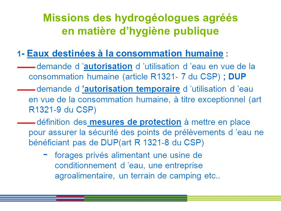Missions des hydrogéologues agréés en matière d'hygiène publique