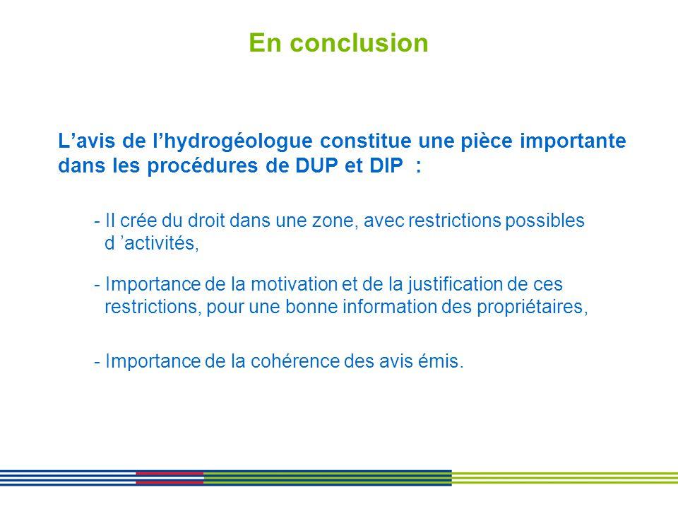 En conclusion L'avis de l'hydrogéologue constitue une pièce importante dans les procédures de DUP et DIP :