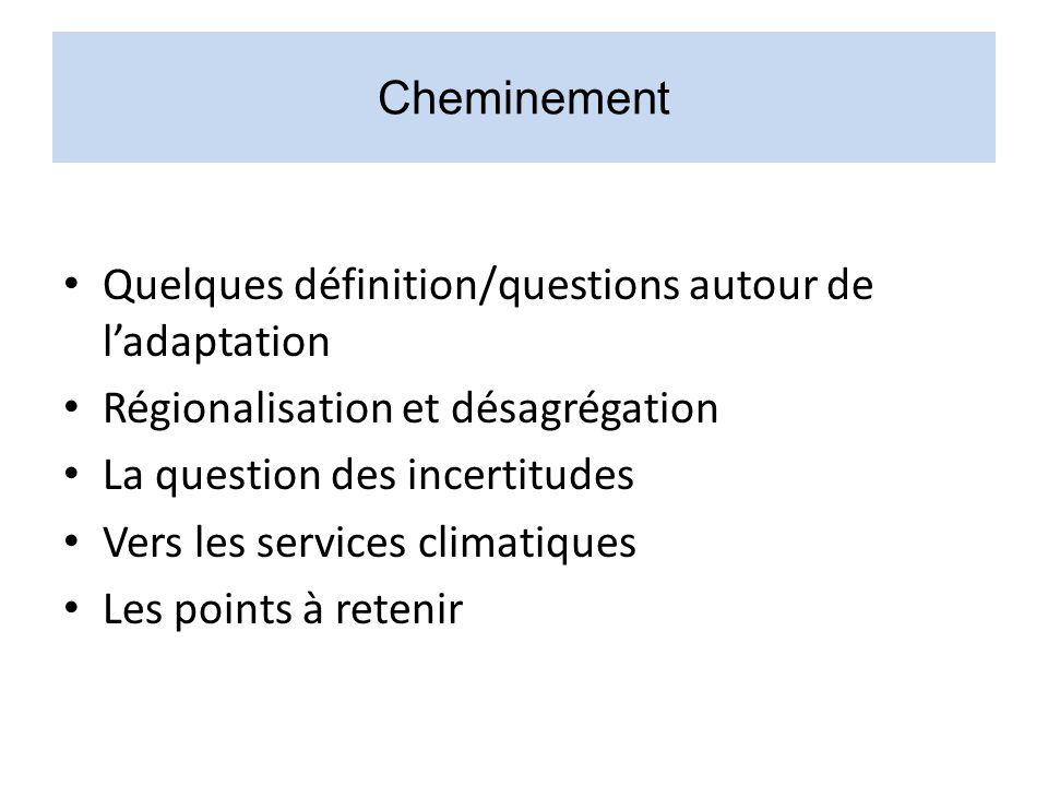 Cheminement Quelques définition/questions autour de l'adaptation. Régionalisation et désagrégation.