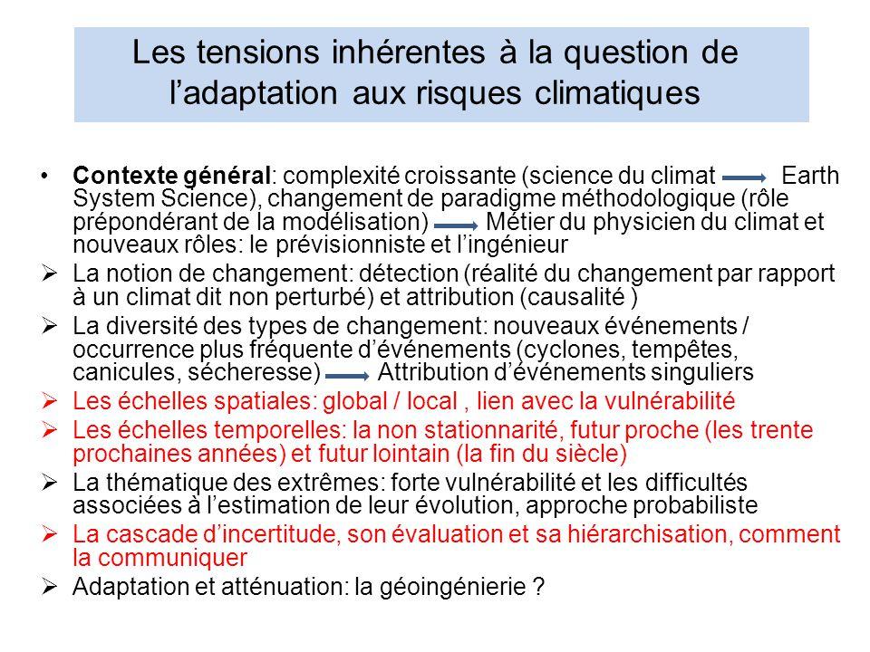 Les tensions inhérentes à la question de l'adaptation aux risques climatiques