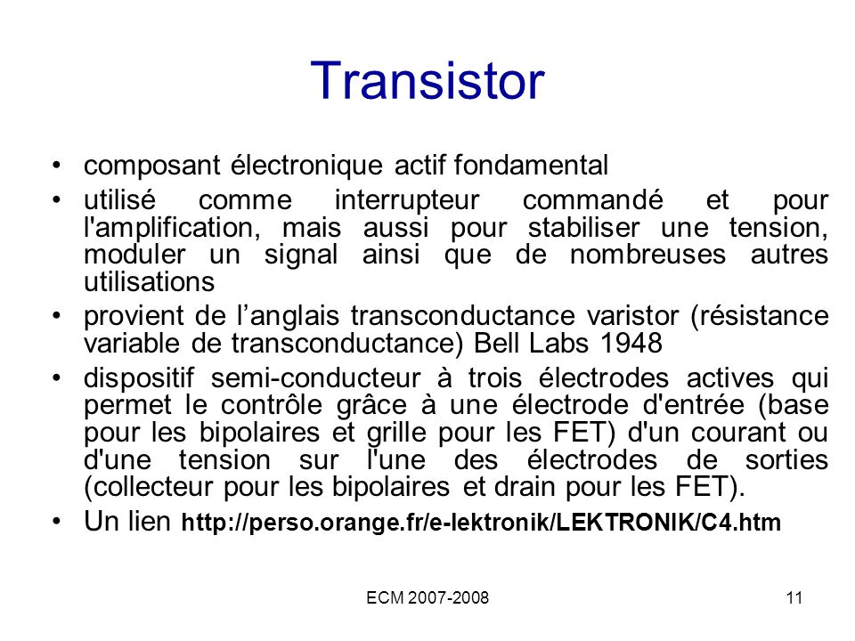 Transistor composant électronique actif fondamental