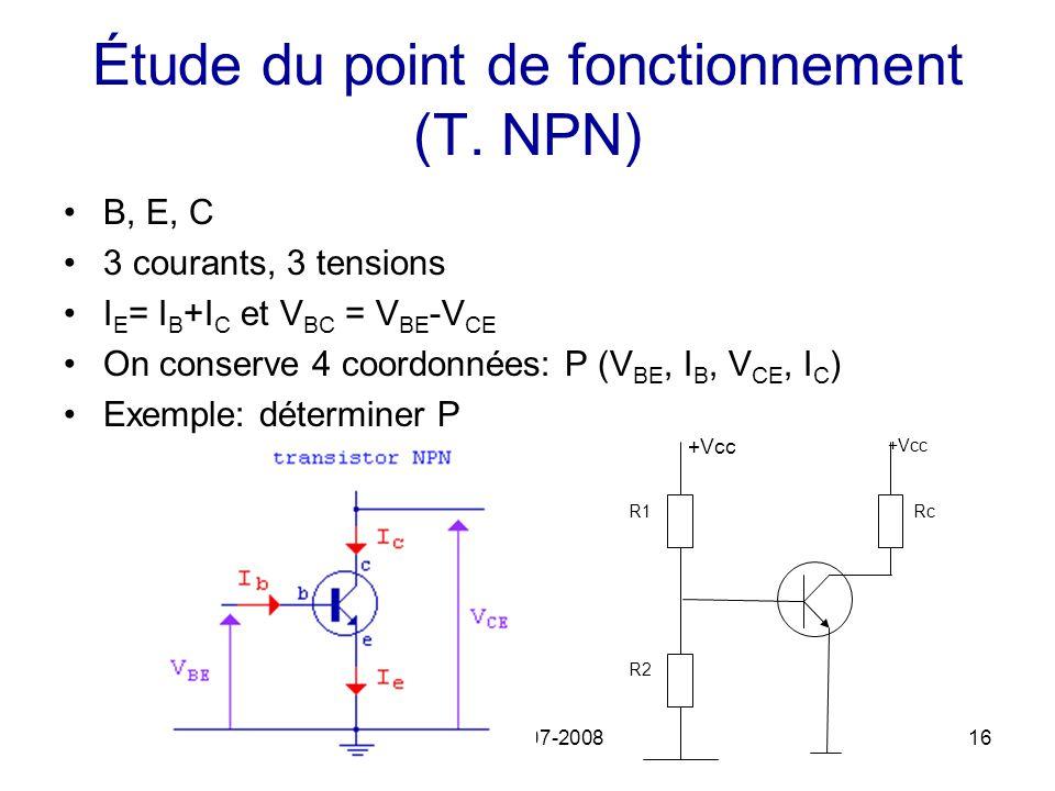 Étude du point de fonctionnement (T. NPN)