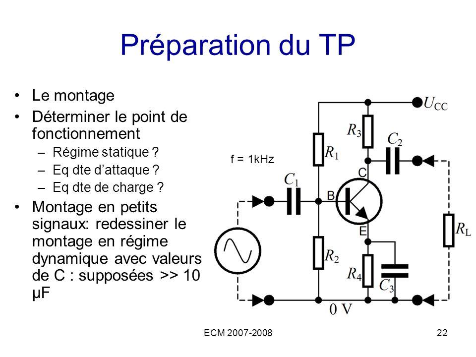 Préparation du TP Le montage Déterminer le point de fonctionnement