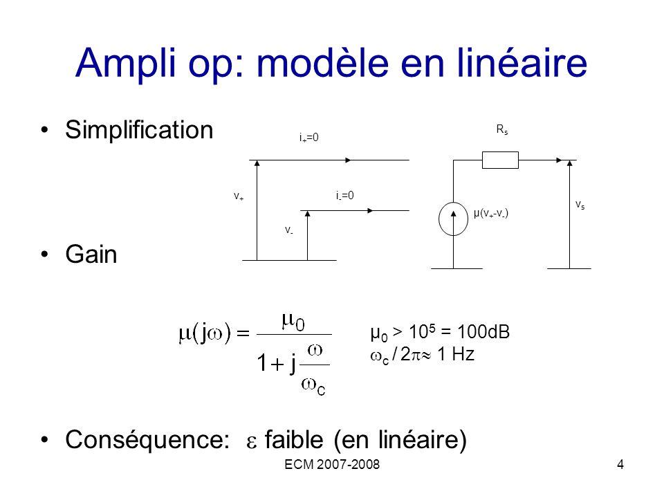 Ampli op: modèle en linéaire