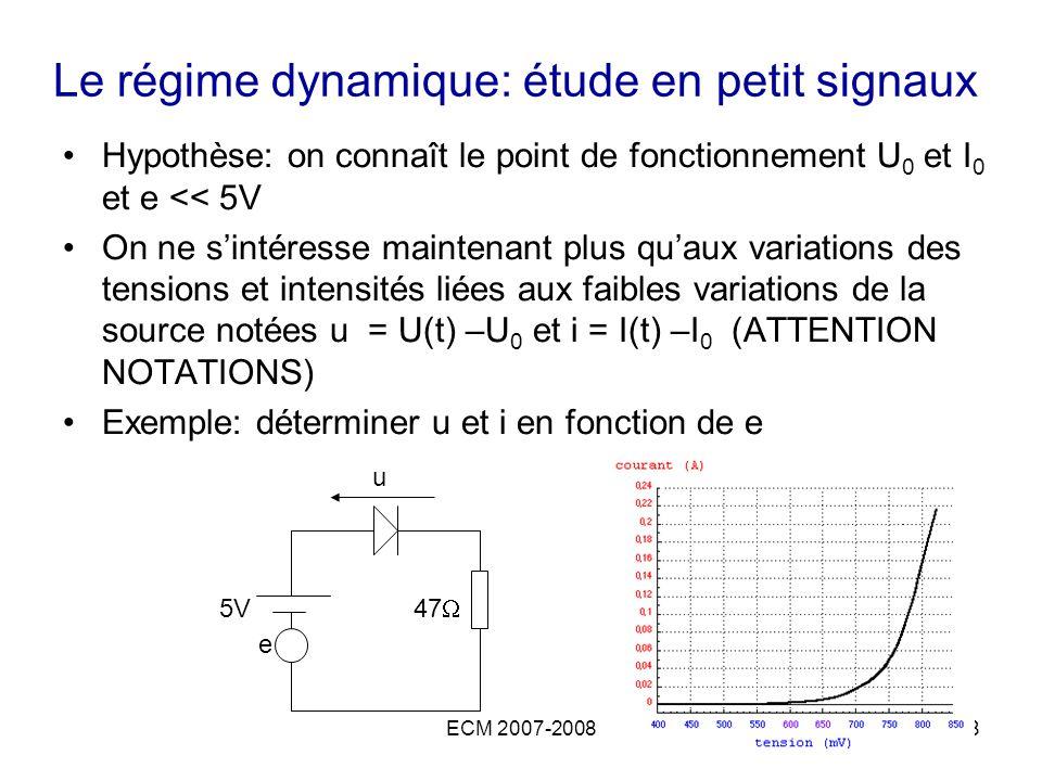 Le régime dynamique: étude en petit signaux