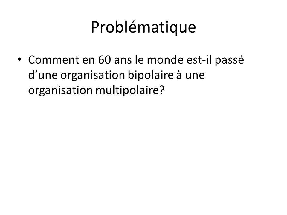 Problématique Comment en 60 ans le monde est-il passé d'une organisation bipolaire à une organisation multipolaire