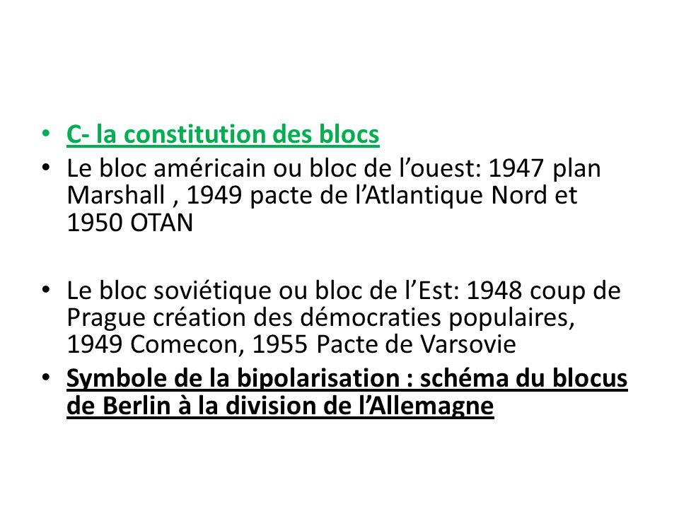 C- la constitution des blocs