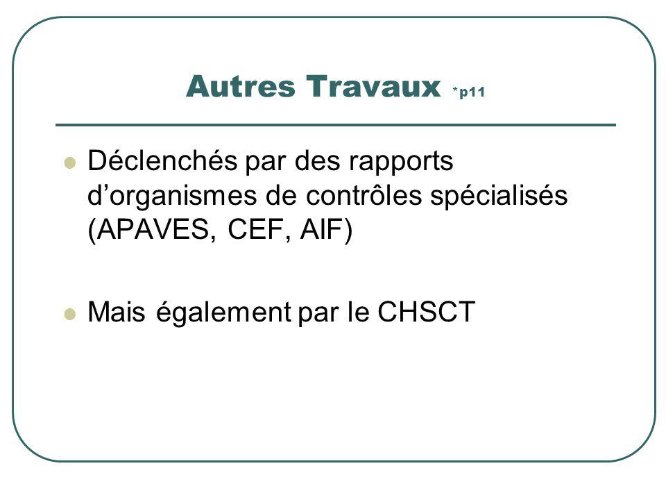 Autres Travaux *p11 Déclenchés par des rapports d'organismes de contrôles spécialisés (APAVES, CEF, AIF)