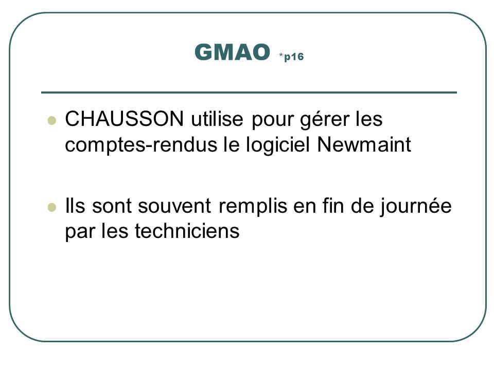 GMAO *p16 CHAUSSON utilise pour gérer les comptes-rendus le logiciel Newmaint.