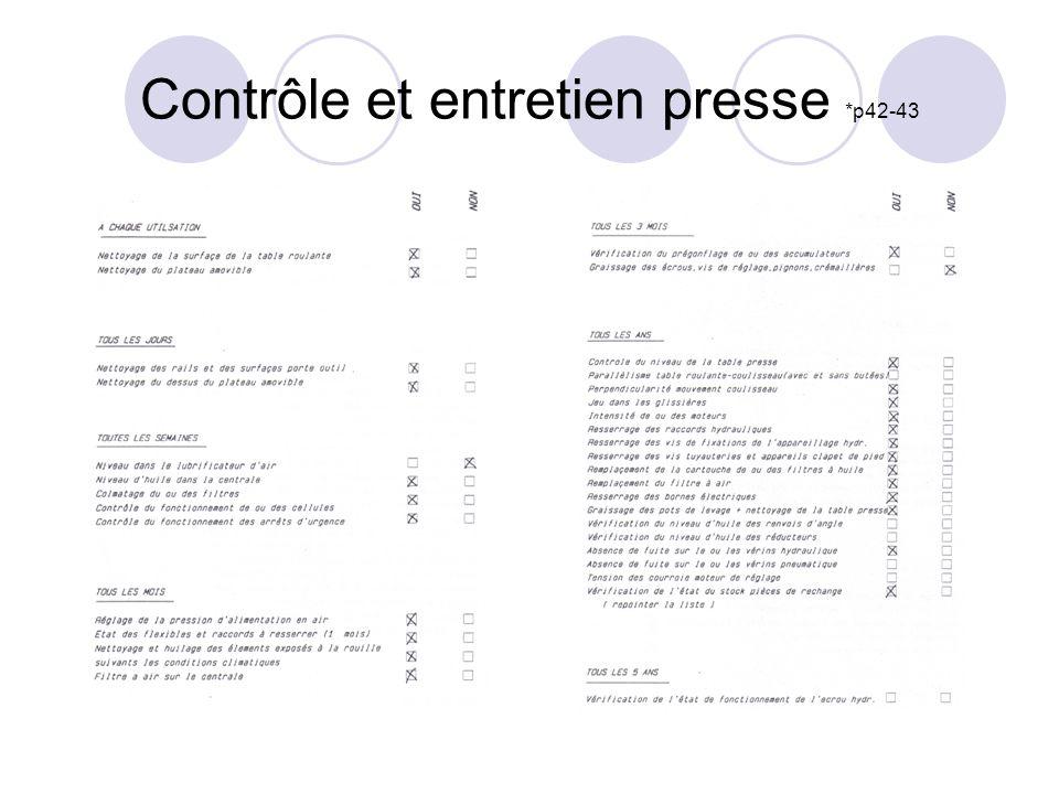 Contrôle et entretien presse *p42-43