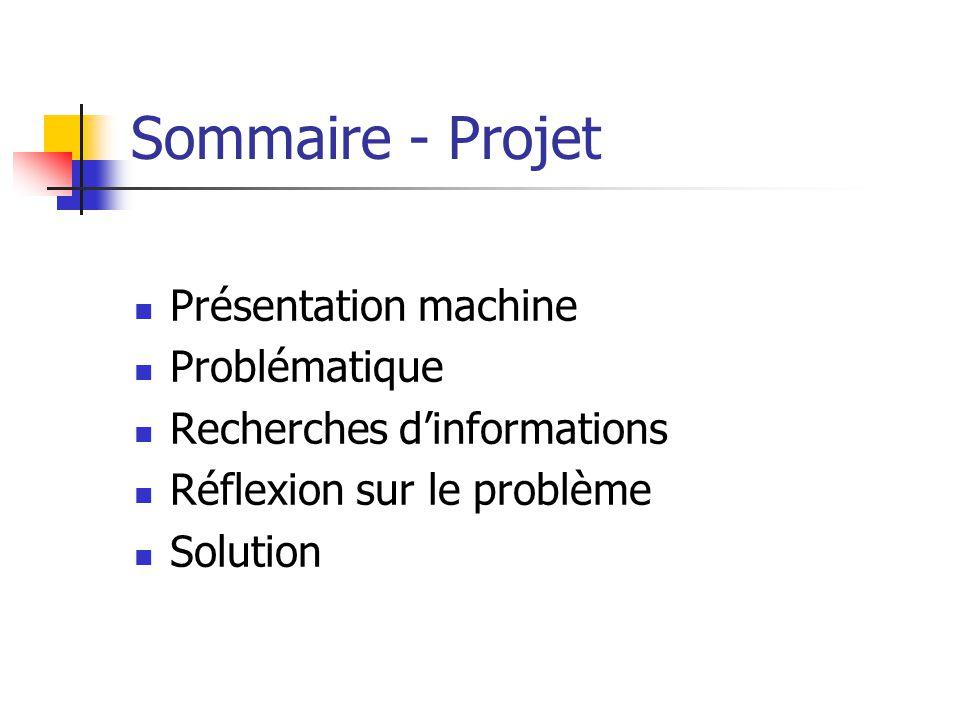 Sommaire - Projet Présentation machine Problématique