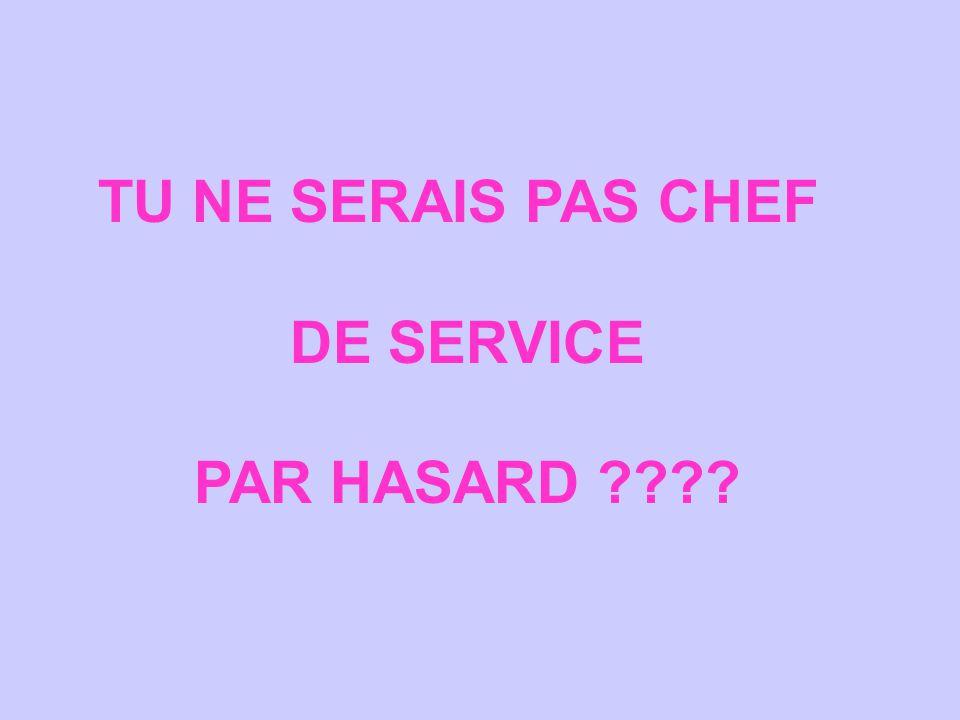 TU NE SERAIS PAS CHEF DE SERVICE PAR HASARD