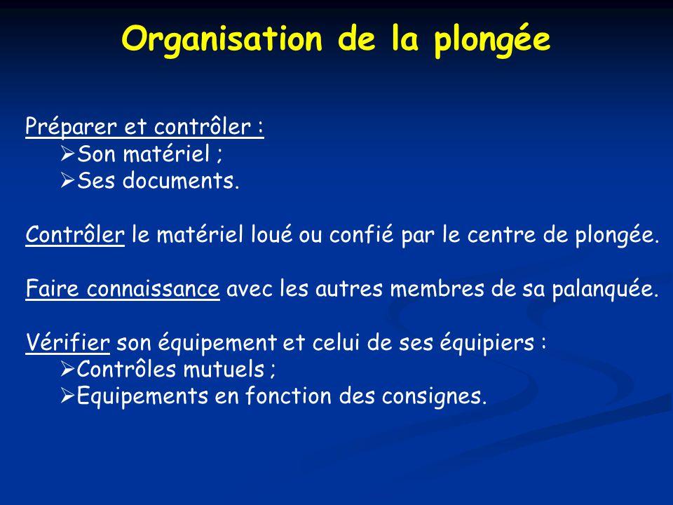 Organisation de la plongée