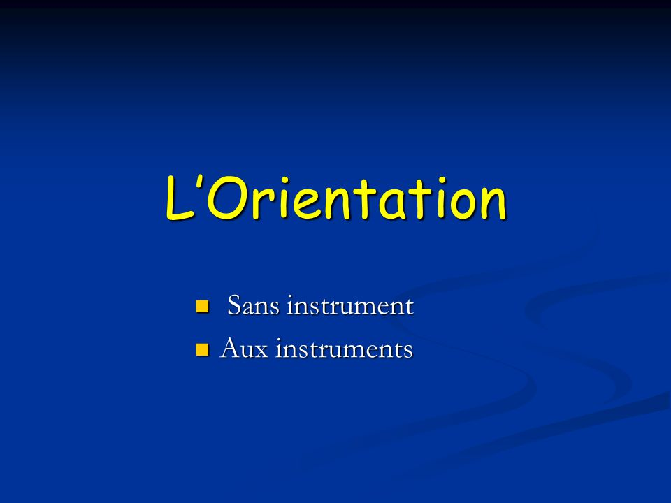 Sans instrument Aux instruments