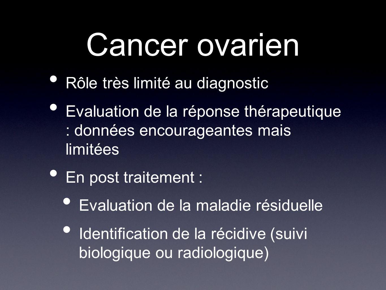 Cancer ovarien Rôle très limité au diagnostic