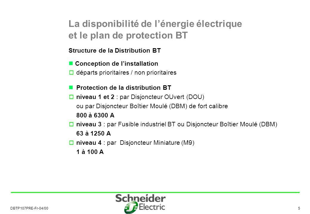 La disponibilité de l'énergie électrique et le plan de protection BT