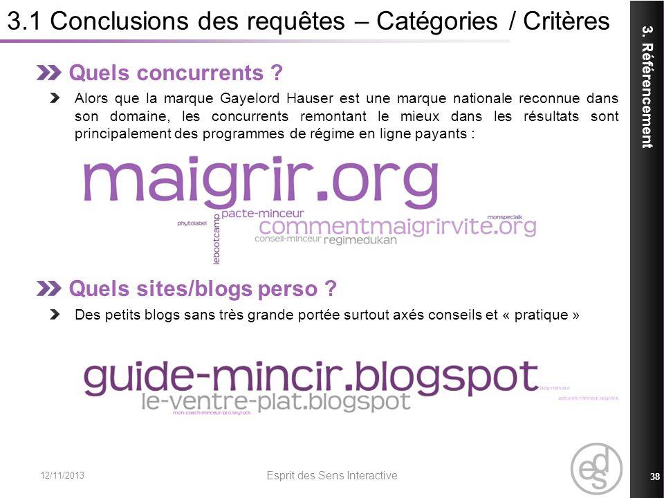 3.1 Conclusions des requêtes – Catégories / Critères