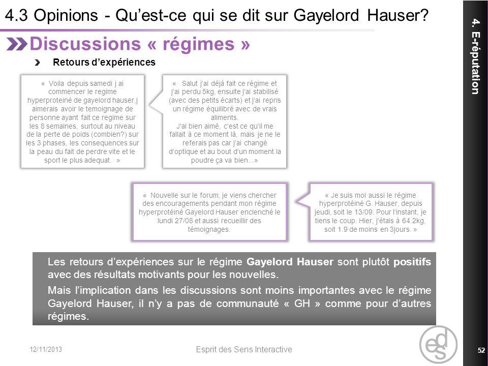 4.3 Opinions - Qu'est-ce qui se dit sur Gayelord Hauser