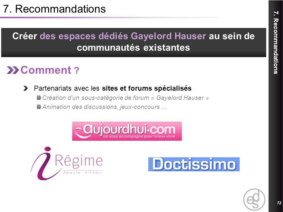 7. Recommandations Comment