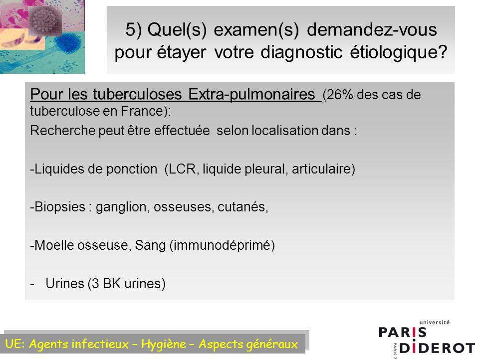 5) Quel(s) examen(s) demandez-vous pour étayer votre diagnostic étiologique