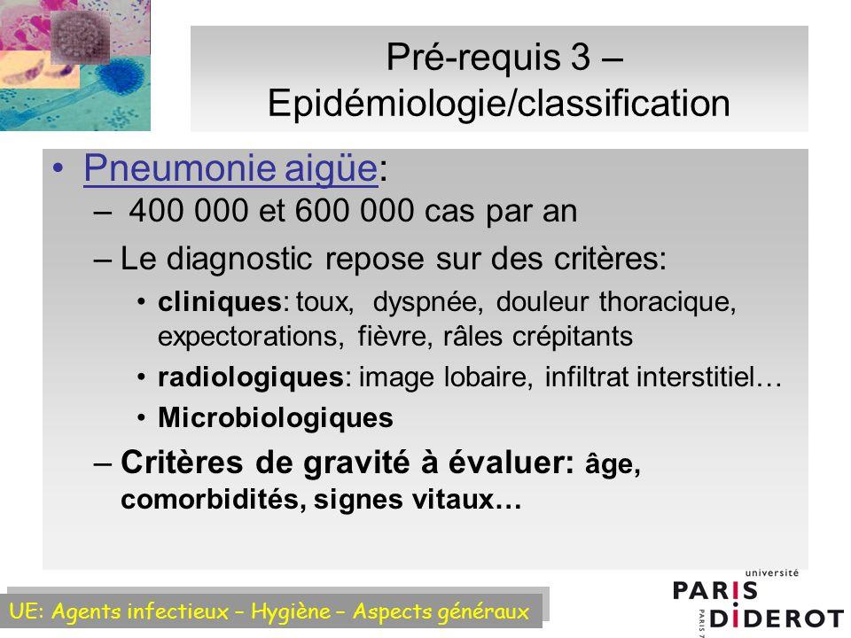 Pré-requis 3 – Epidémiologie/classification