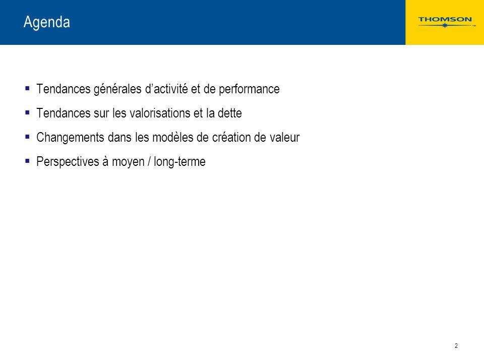 Agenda Tendances générales d'activité et de performance