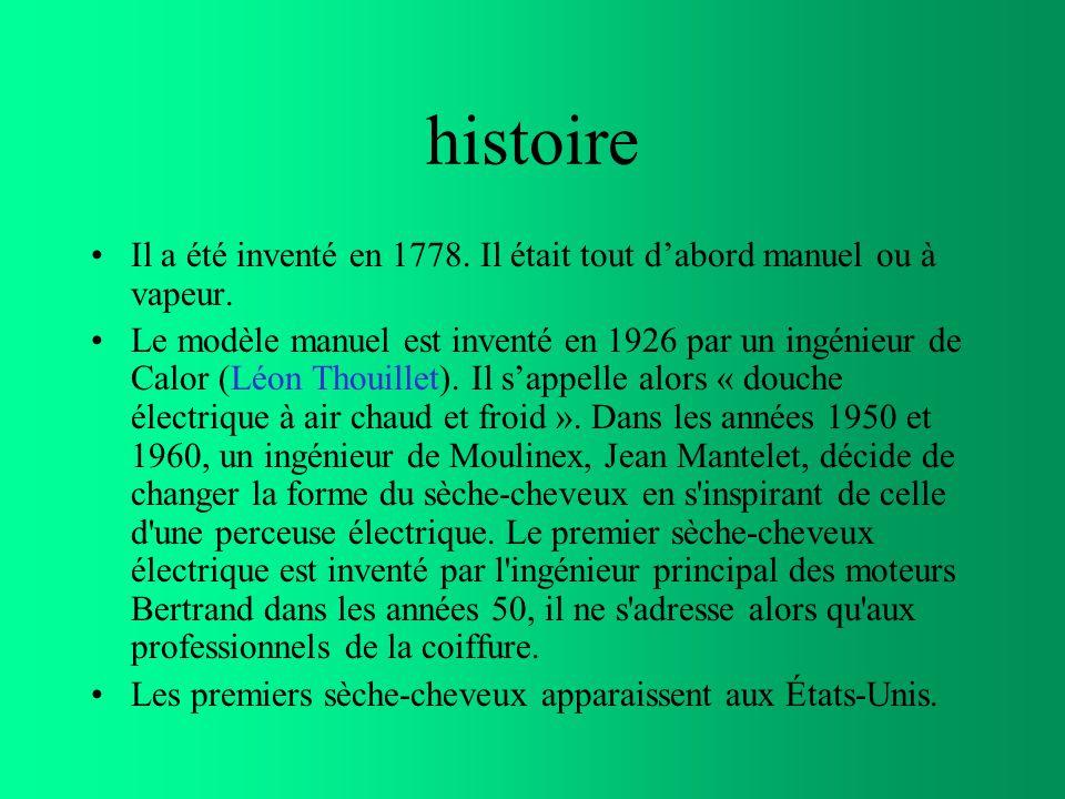 histoire Il a été inventé en 1778. Il était tout d'abord manuel ou à vapeur.