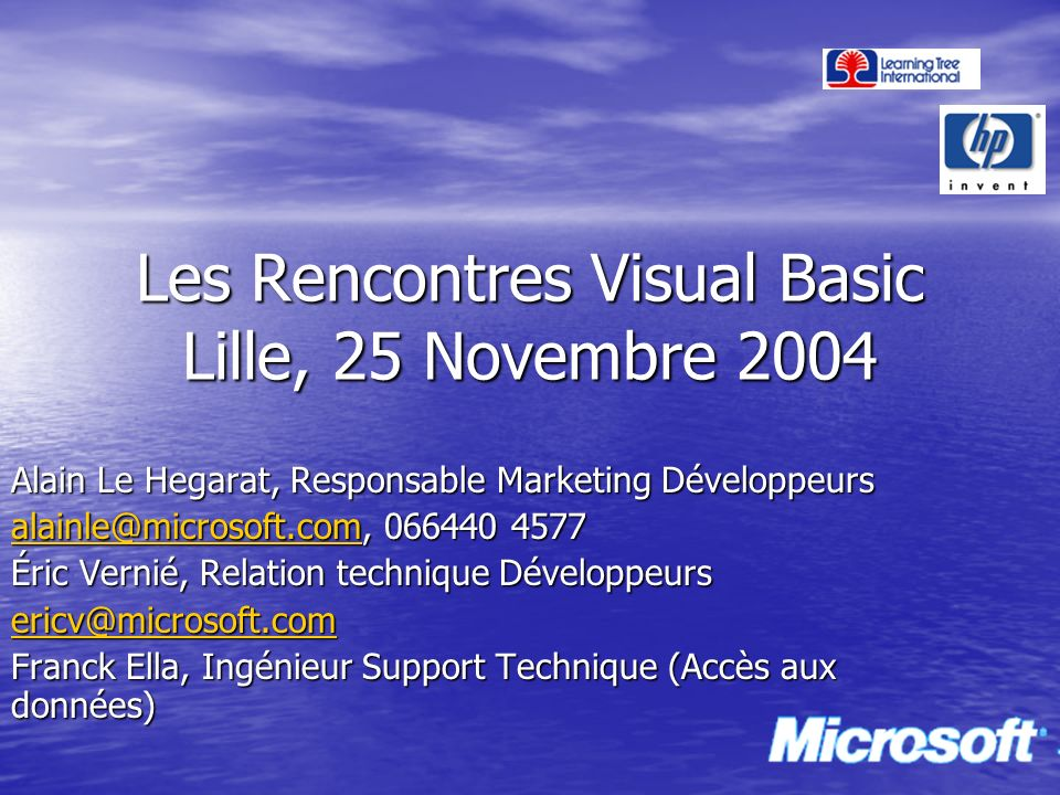 Les Rencontres Visual Basic Lille, 25 Novembre 2004