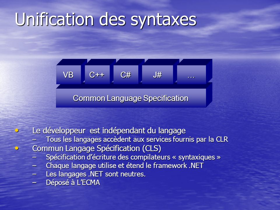 Unification des syntaxes