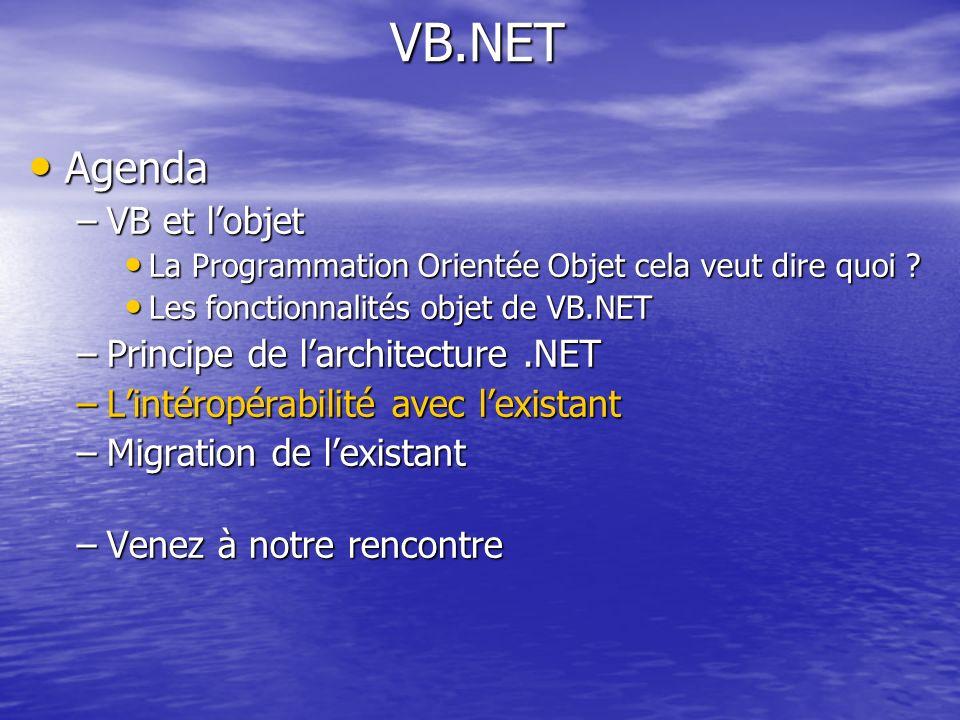 VB.NET Agenda VB et l'objet Principe de l'architecture .NET