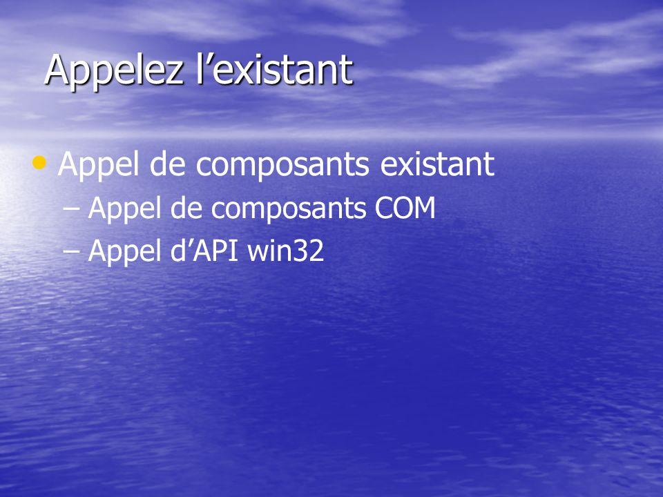 Appelez l'existant Appel de composants existant