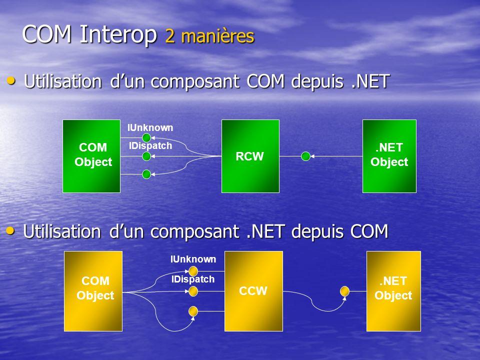 COM Interop 2 manières Utilisation d'un composant COM depuis .NET
