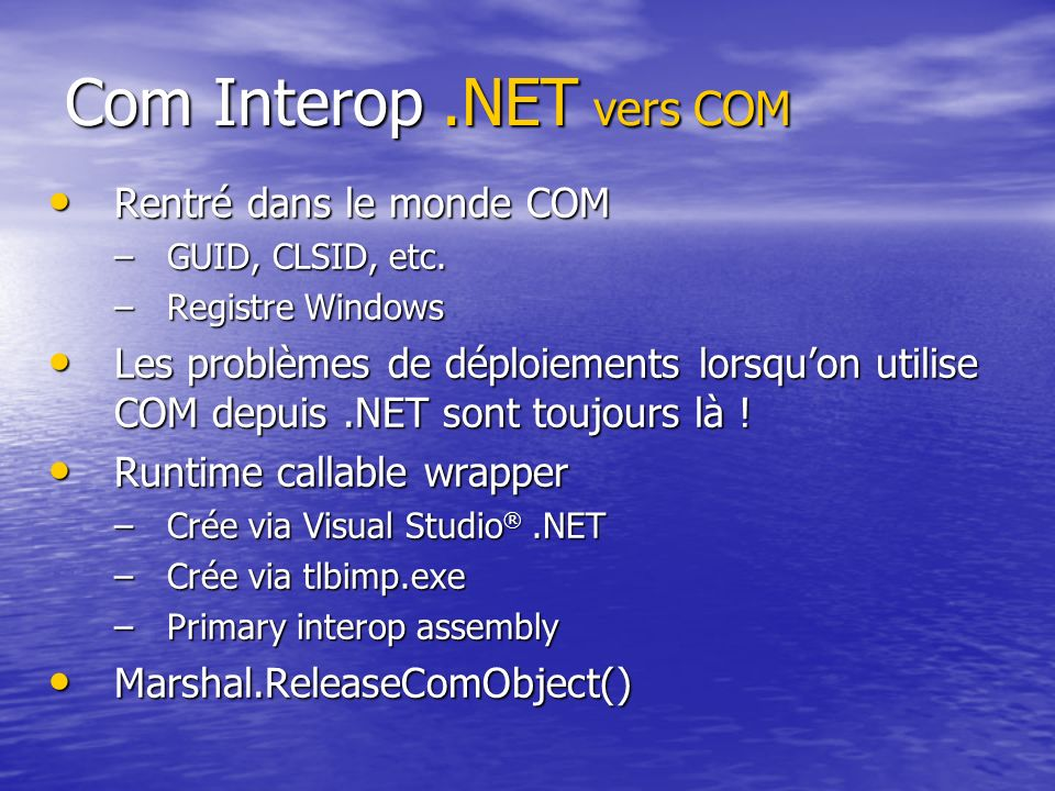 Com Interop .NET vers COM