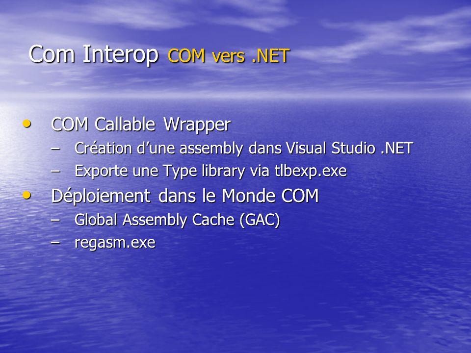 Com Interop COM vers .NET