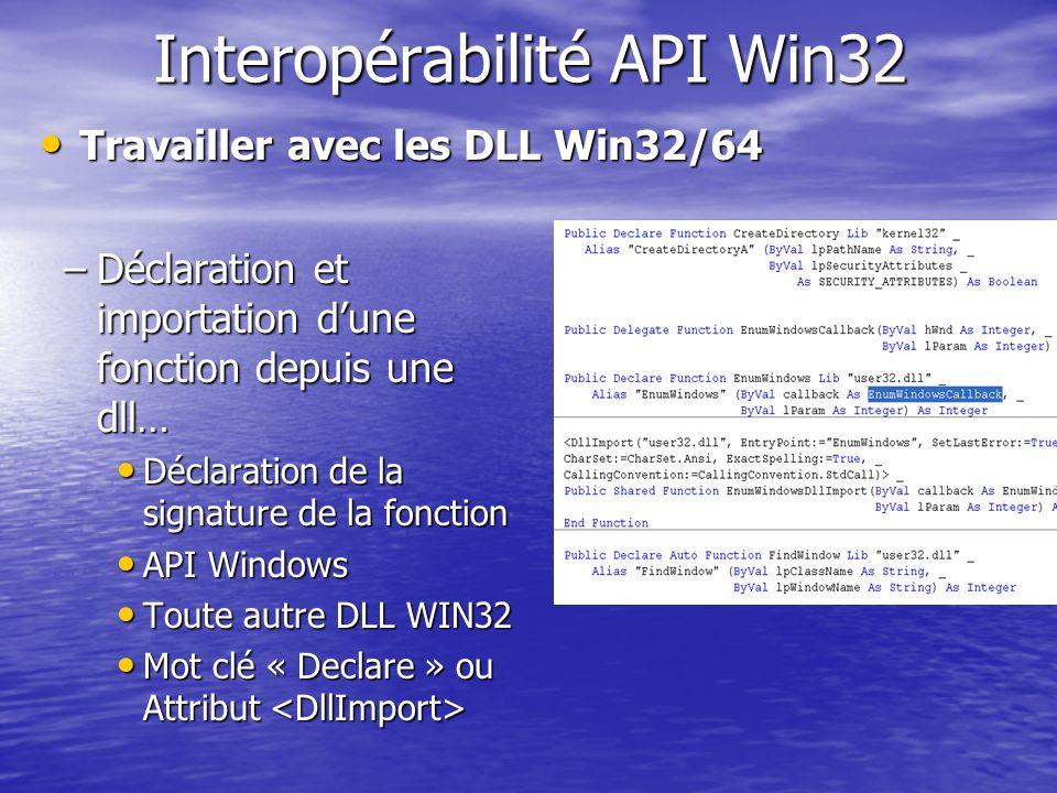Interopérabilité API Win32