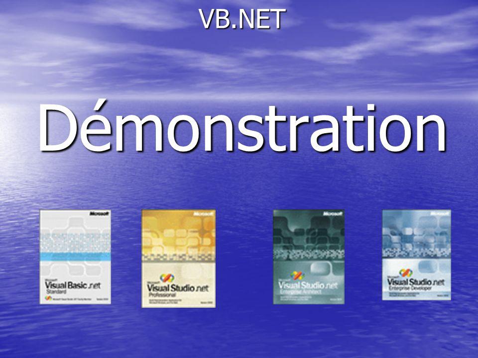Démonstration VB.NET Démonstration Utilisation des assistants DataForm