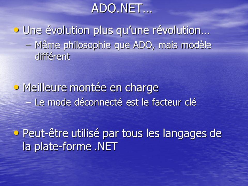 ADO.NET… Une évolution plus qu'une révolution…