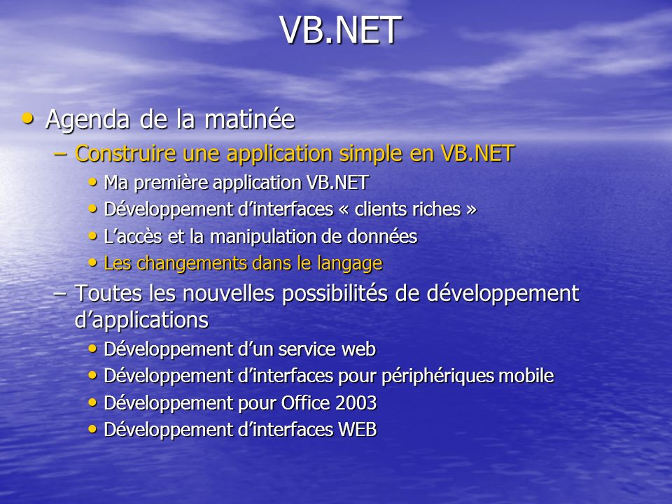 VB.NET Agenda de la matinée