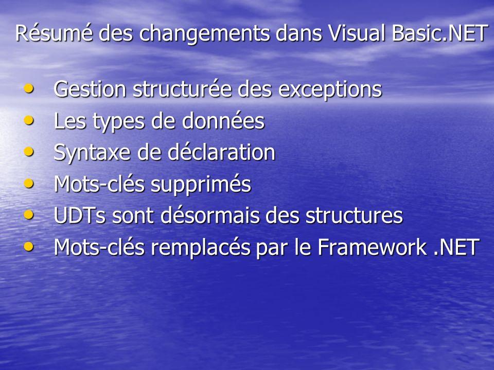 Résumé des changements dans Visual Basic.NET