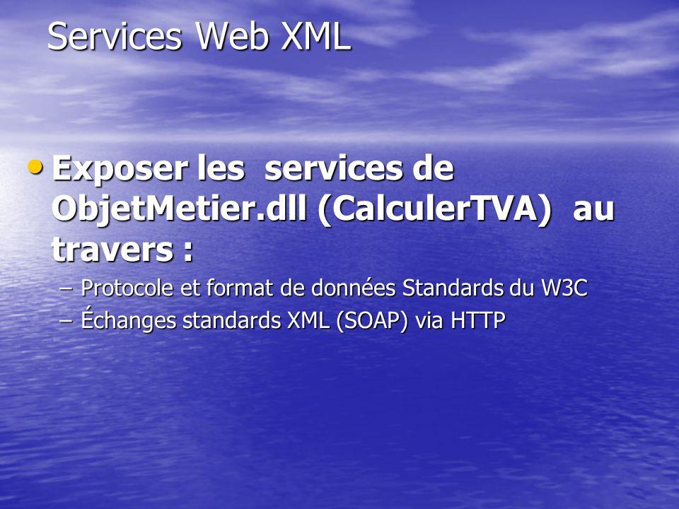 Services Web XML Exposer les services de ObjetMetier.dll (CalculerTVA) au travers : Protocole et format de données Standards du W3C.