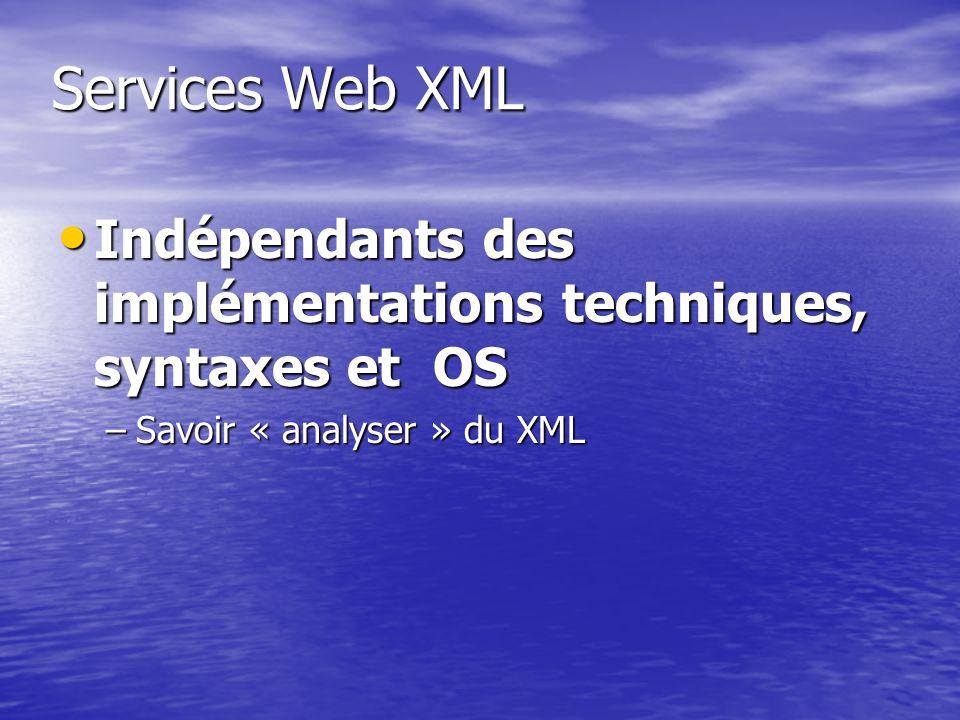 Services Web XML Indépendants des implémentations techniques, syntaxes et OS.