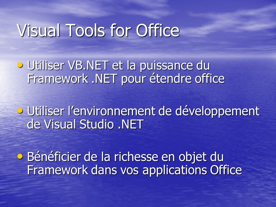 Visual Tools for Office