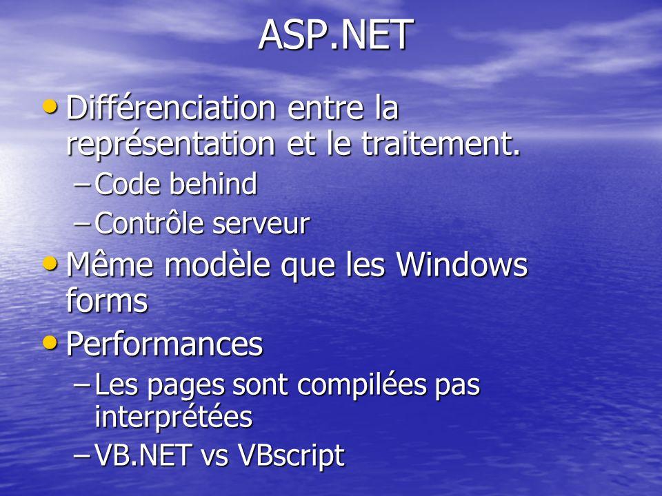 ASP.NET Différenciation entre la représentation et le traitement.