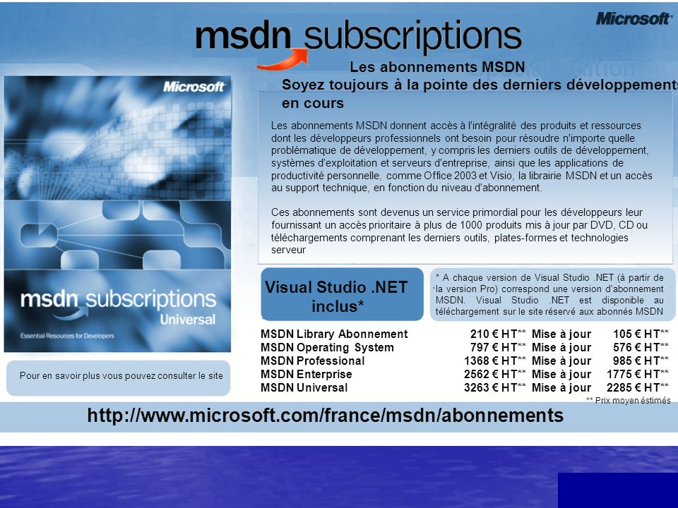 http://www.microsoft.com/france/msdn/abonnements Visual Studio .NET