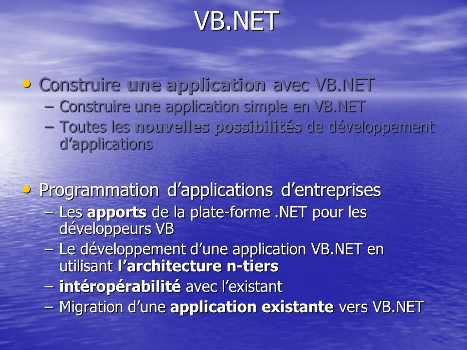 VB.NET Construire une application avec VB.NET