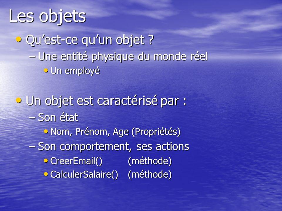 Les objets Qu'est-ce qu'un objet Un objet est caractérisé par :