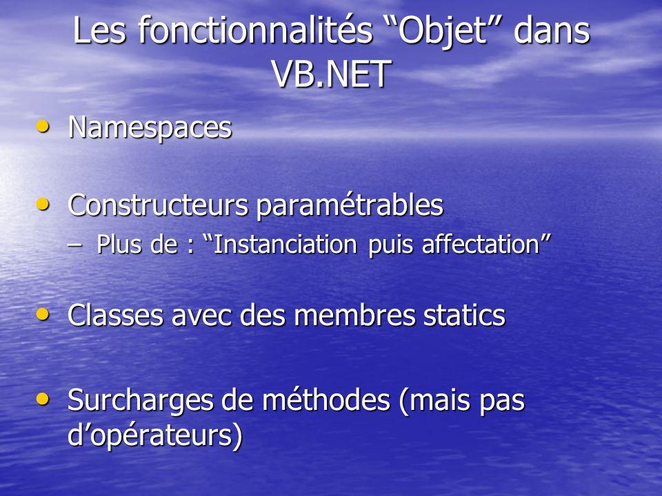 Les fonctionnalités Objet dans VB.NET