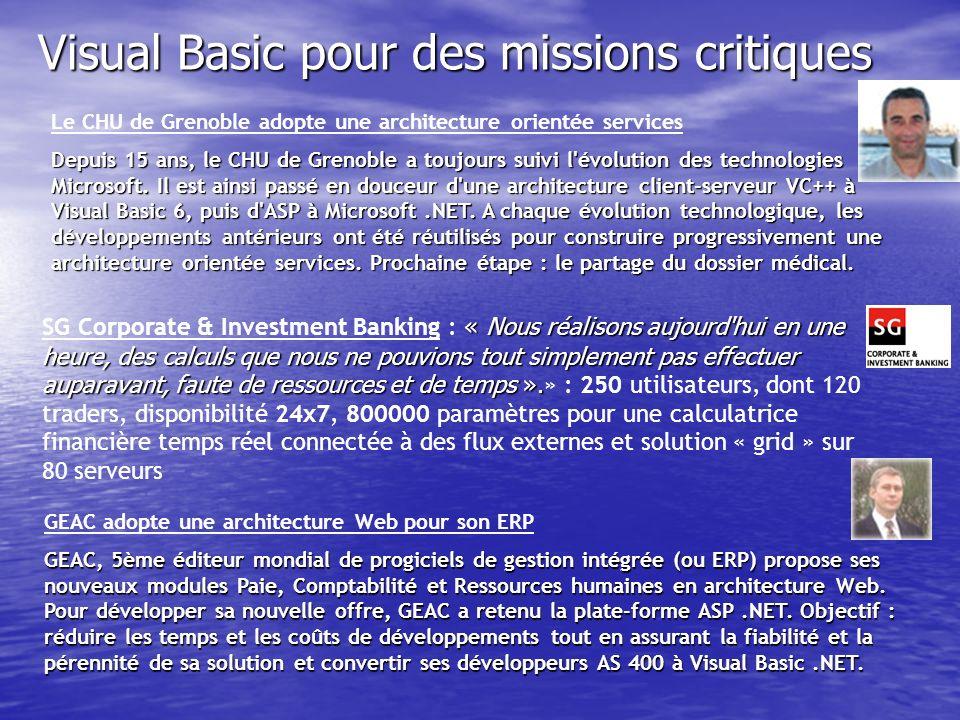 Visual Basic pour des missions critiques