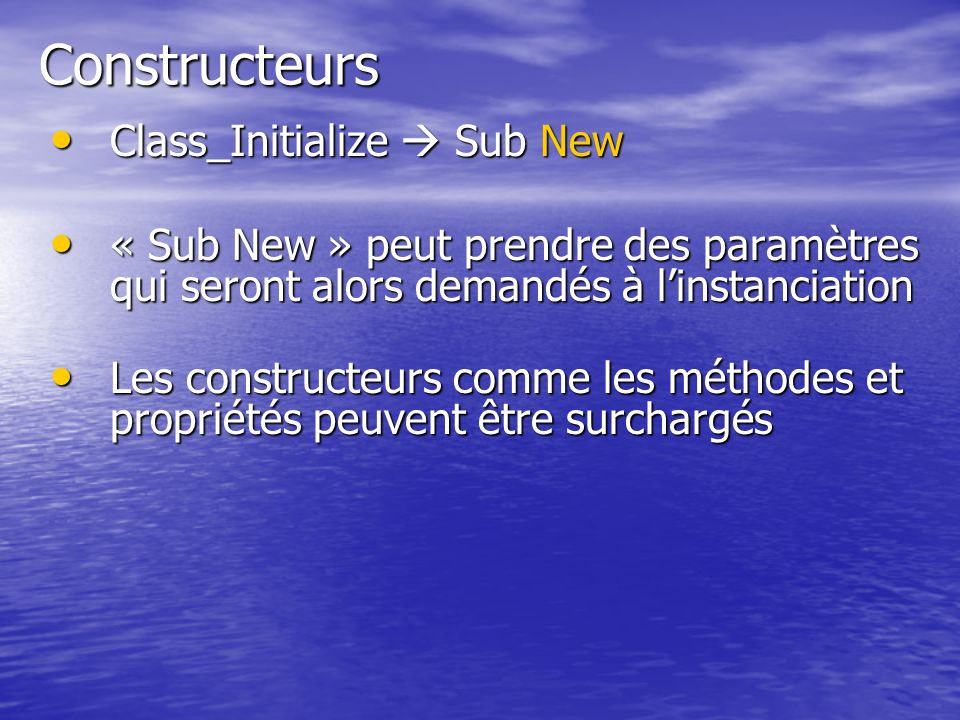 Constructeurs Class_Initialize  Sub New